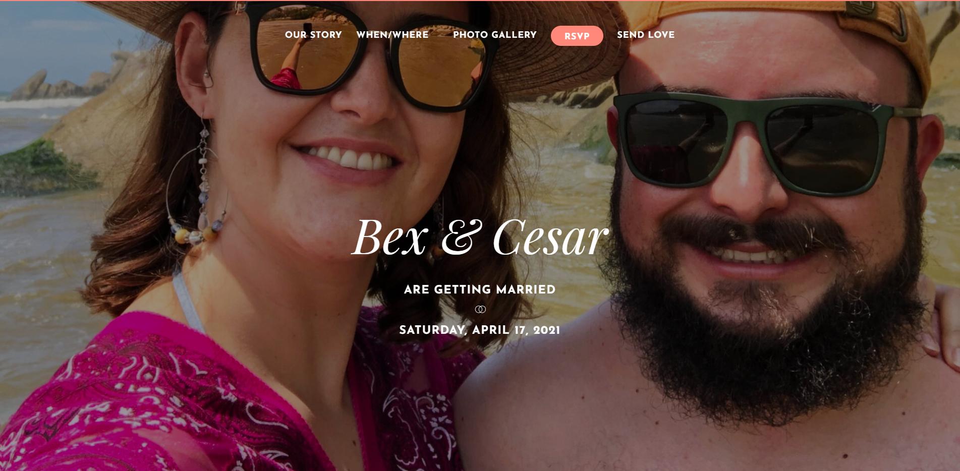 Landing page de Bex y Cesar