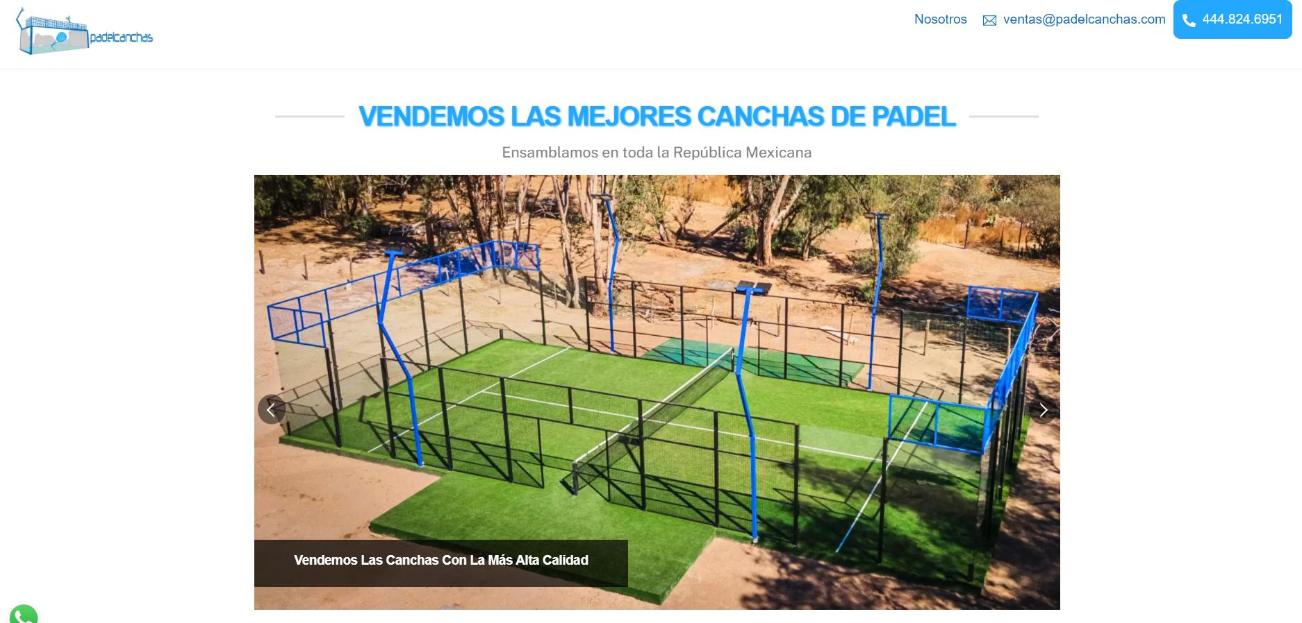 Landing page de Padel Canchas